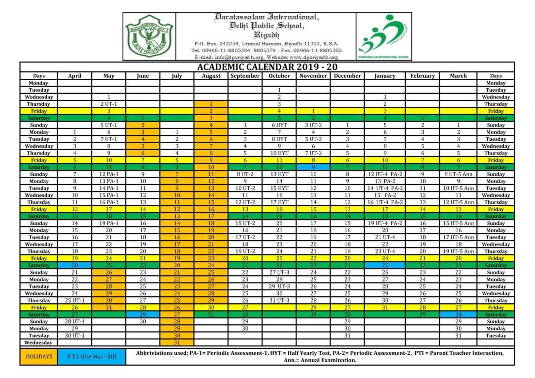 Dps Calendar 2022.Calendar Dps Riyadh